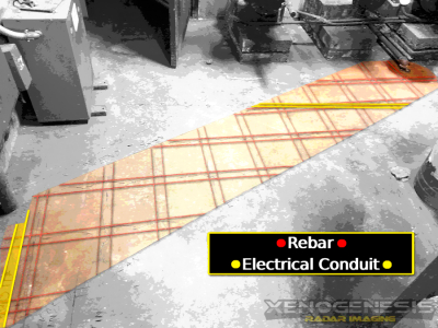 Ground penetrating RADAR / RADAR imaging for electrical conduit and steel in slab on grade applications.